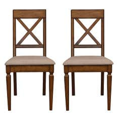 Madeline Oak Pair of Cross Back Dining Chairs