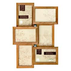 Natural Wood 6 Opening Jigsaw Photo Frame