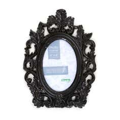 Black Roccoco Oval Photo Frame