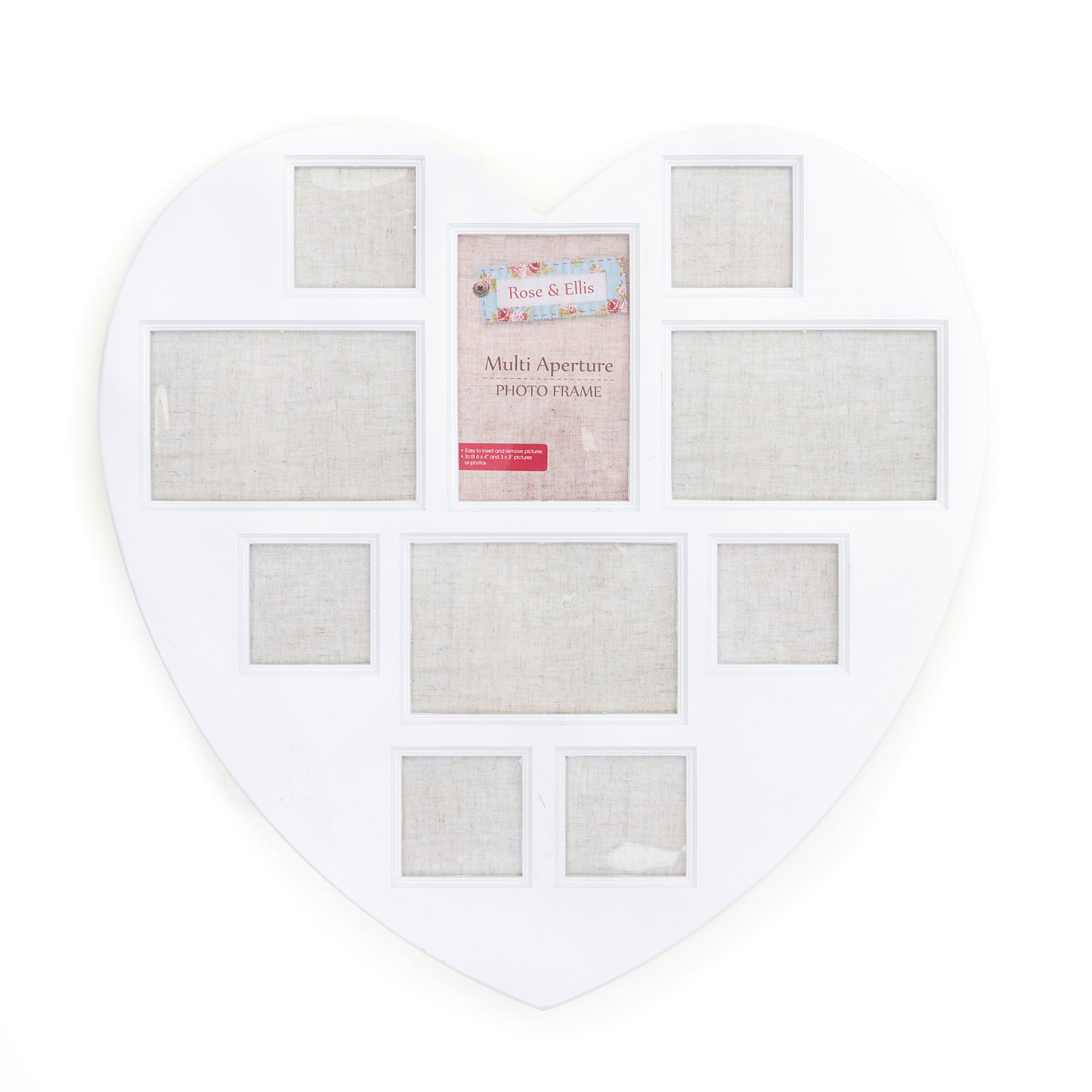 Rose and Ellis Collection Multi Aperture Heart Photo Frame