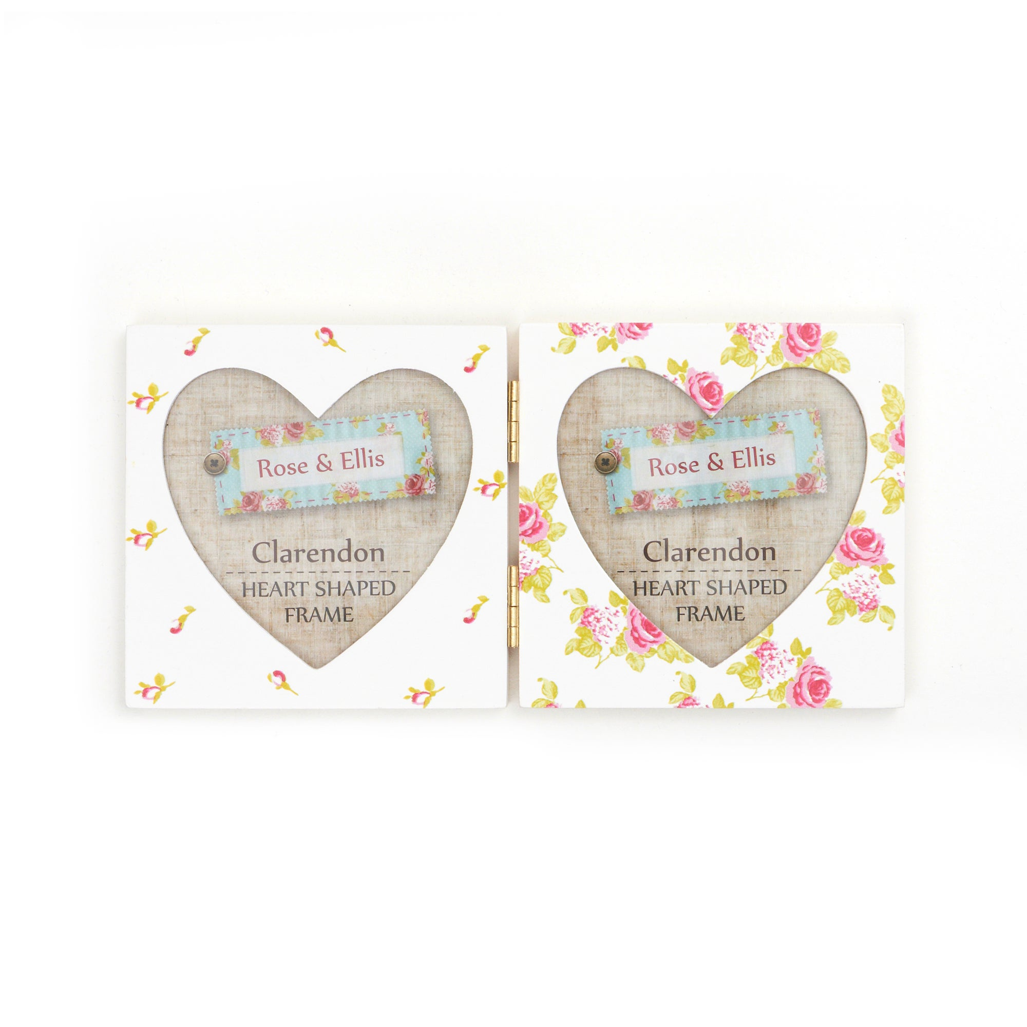 Rose and Ellis Clarendon Collection 2 Aperture Heart Photo Frame