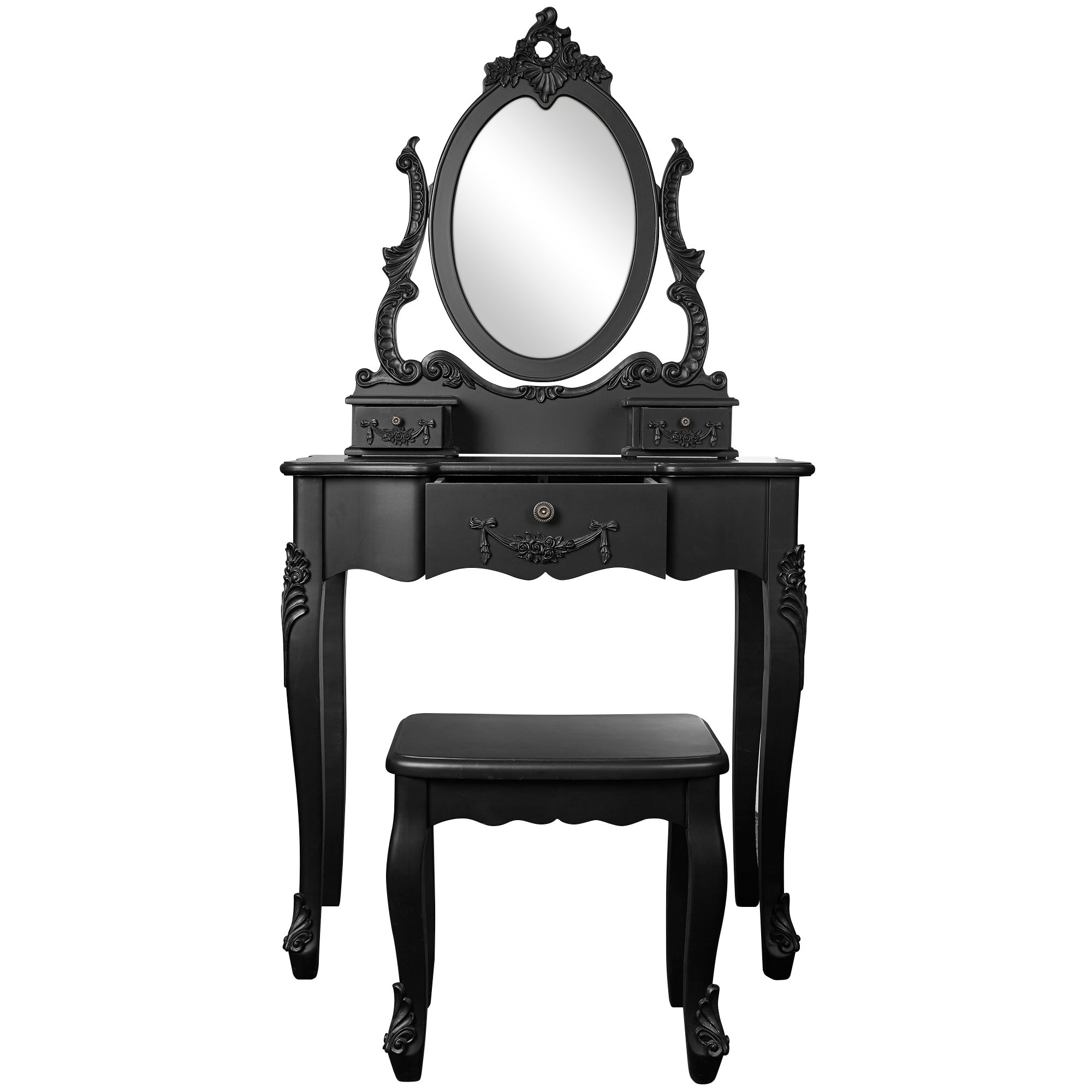 Toulouse Black Dressing Table and Stool