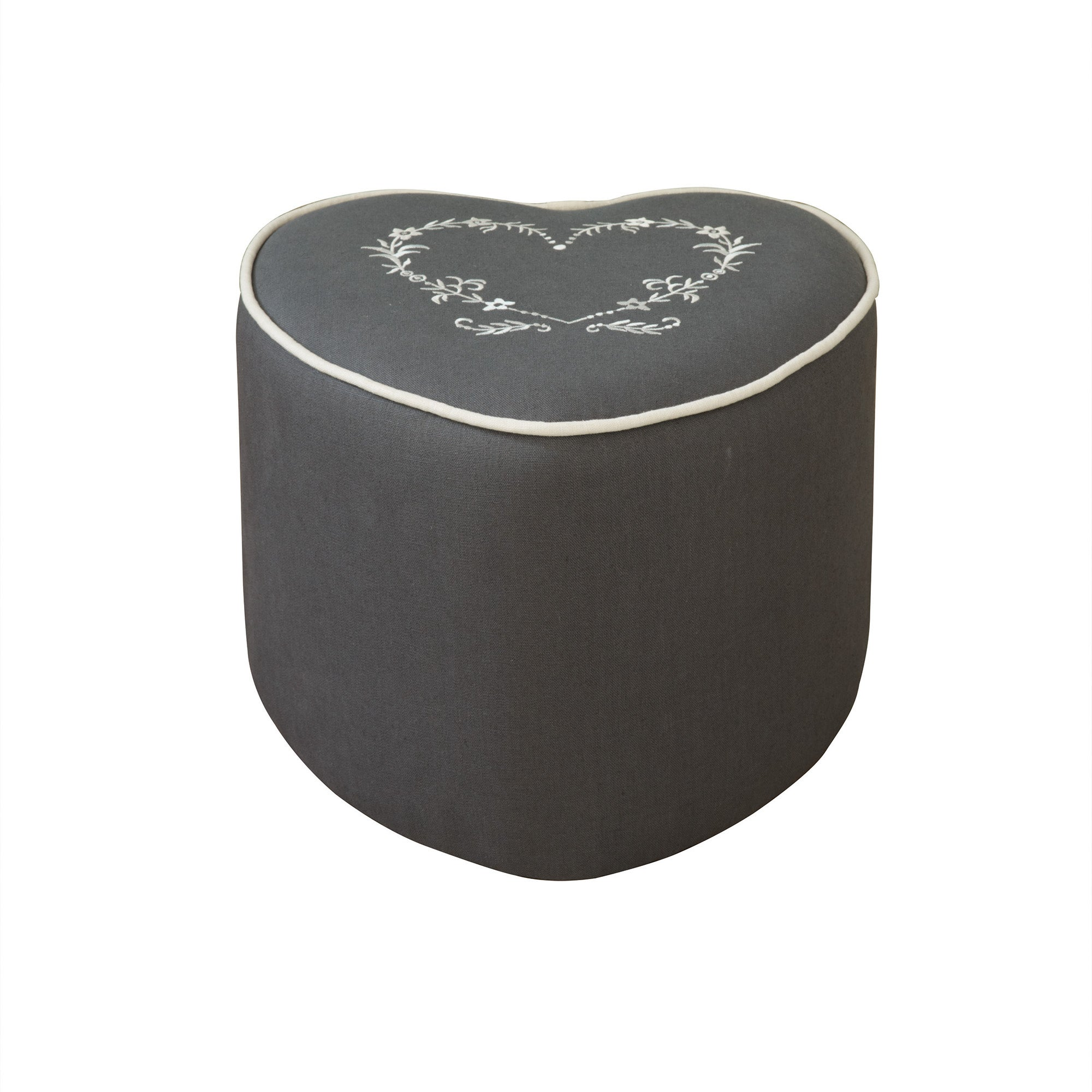 Charcoal Heart Footstool