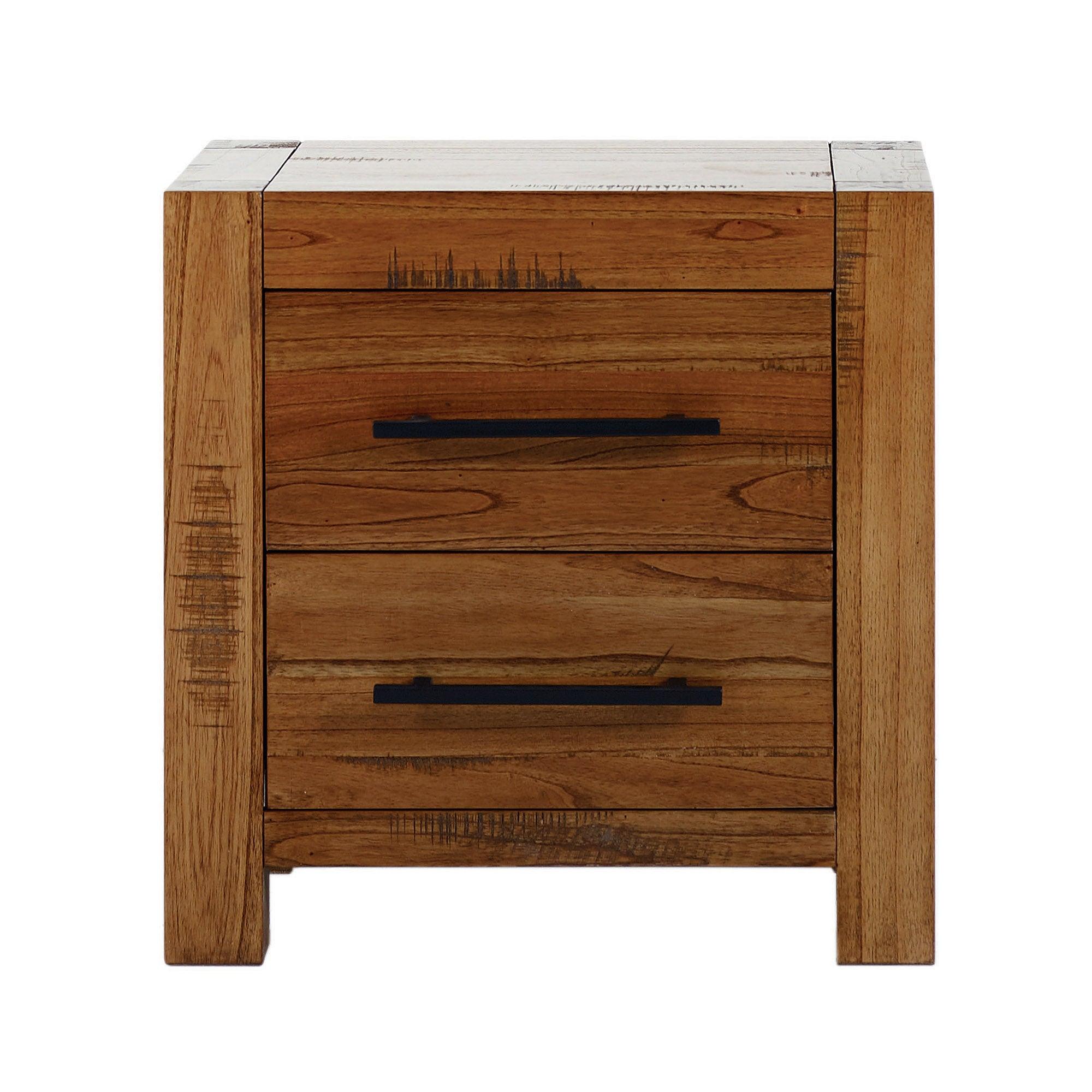Columbia Acacia Dark Wood 2 Drawer Bedside Table