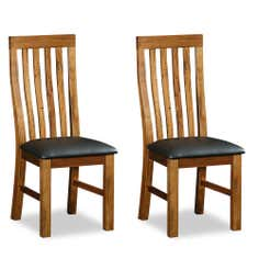 Columbia Acacia Faux Leather Pair of Dining Chairs