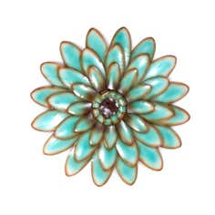 Teal Flower Head Metal Wall Art