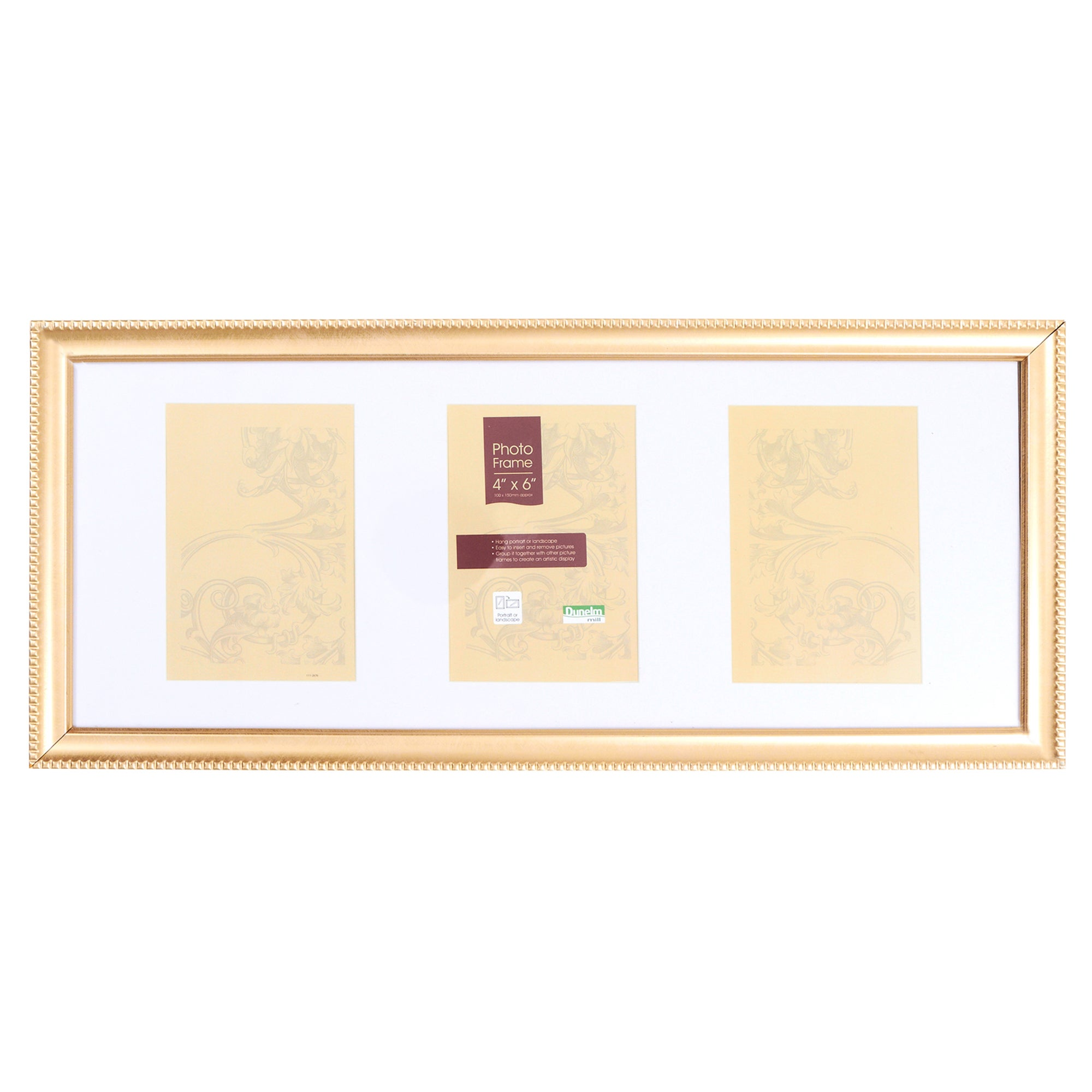 Beaded Gold 3 Aperture Photo Frame