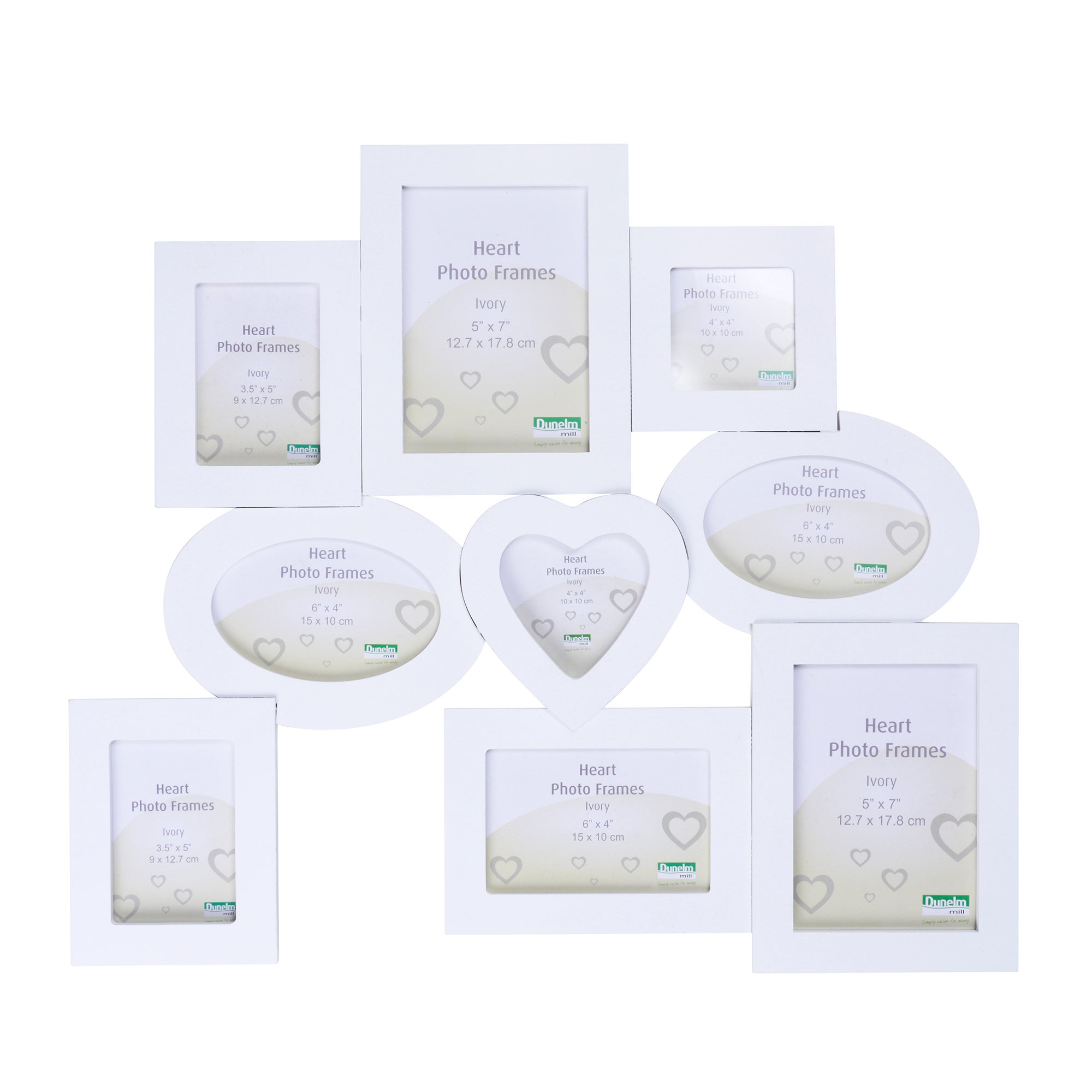 Cream Multi Aperture Photo Frame With Heart