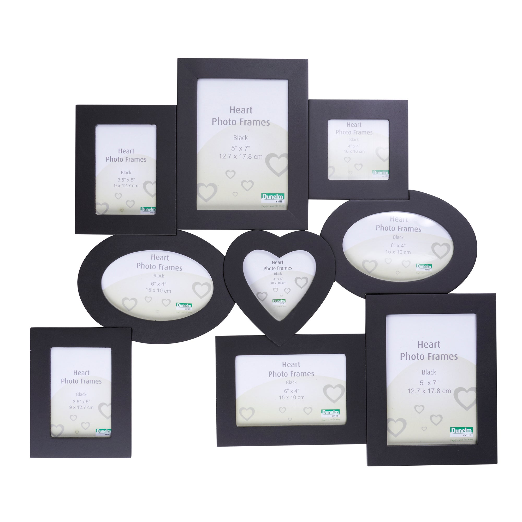 Black Multi Aperture Photo Frame With Heart