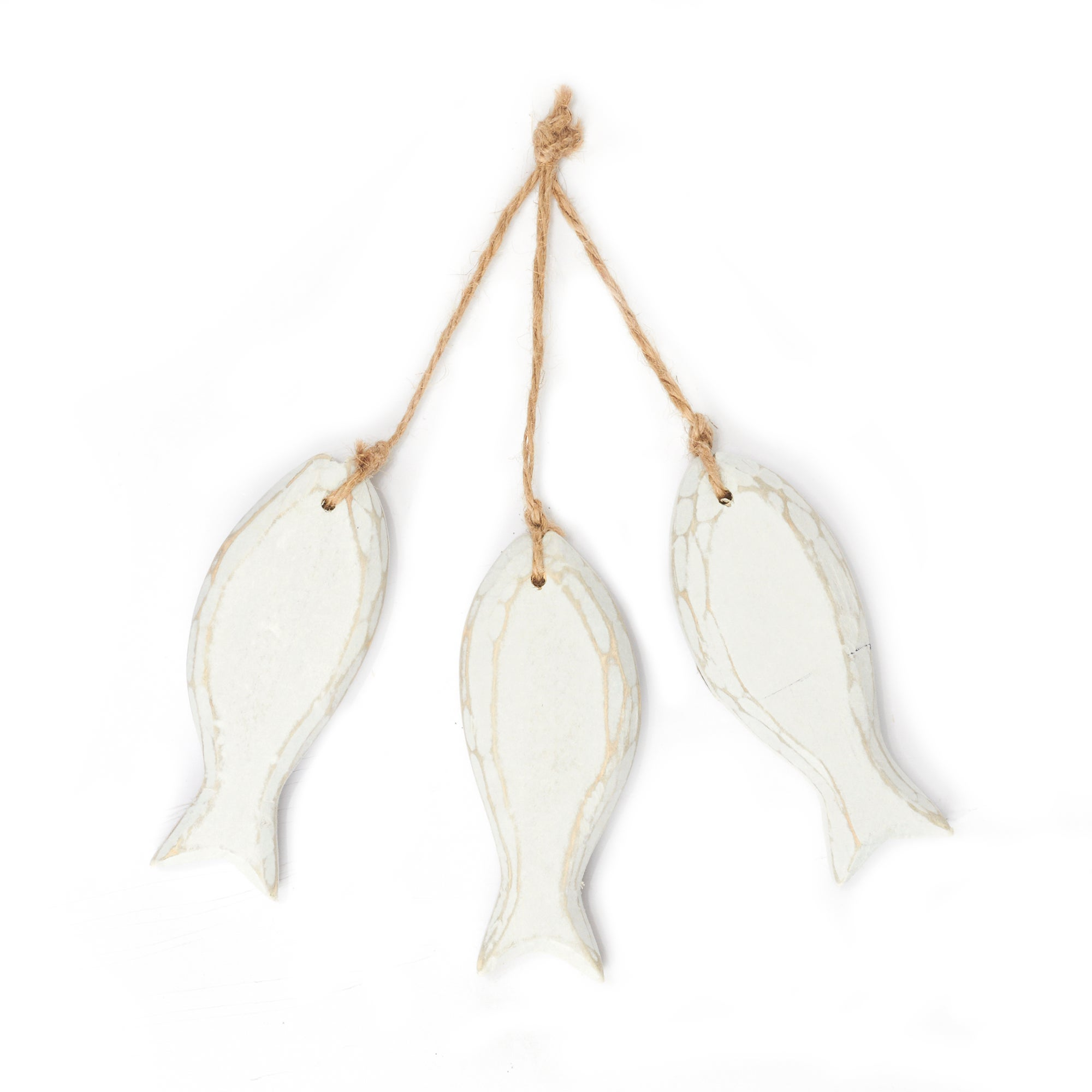 Coastal Collection White Wooden Fish Hanging Plaque
