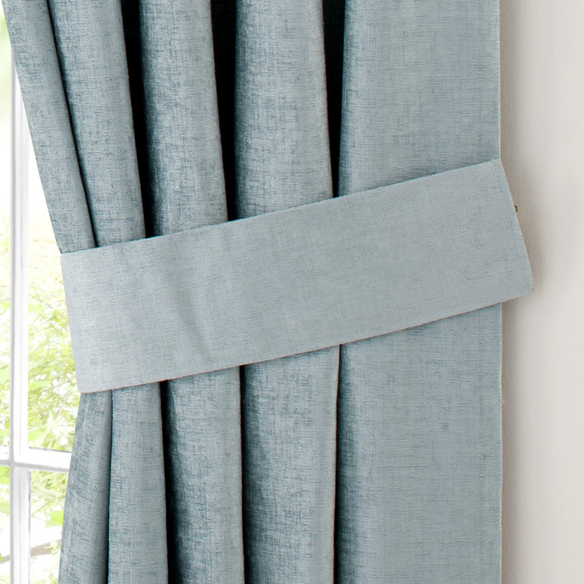 Duck Egg Chenille Pencil Pleat Curtain Collection