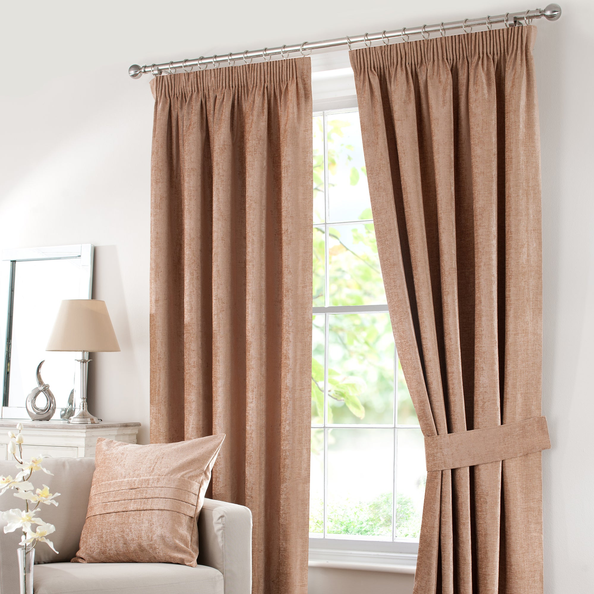 Gold Chenille Pencil Pleat Curtain Collection
