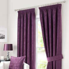 Plum Chenille Lined Pencil Pleat Curtains