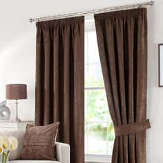 Chocolate Chenille Lined Pencil Pleat Curtains