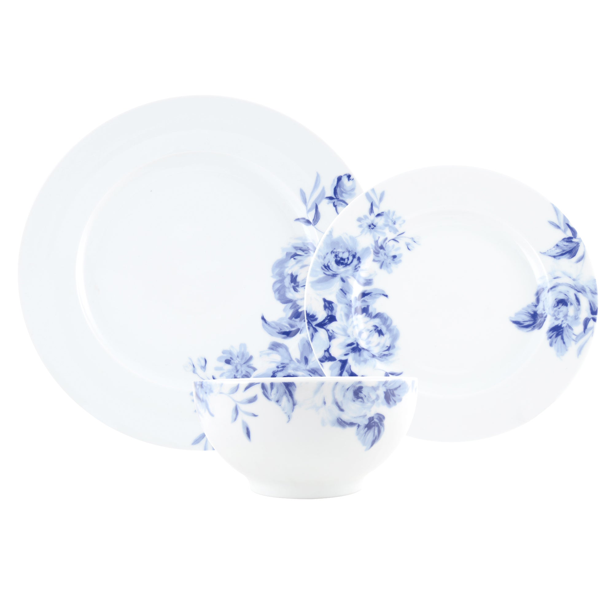 Blue Inky Collection 12 Piece Dinner Set