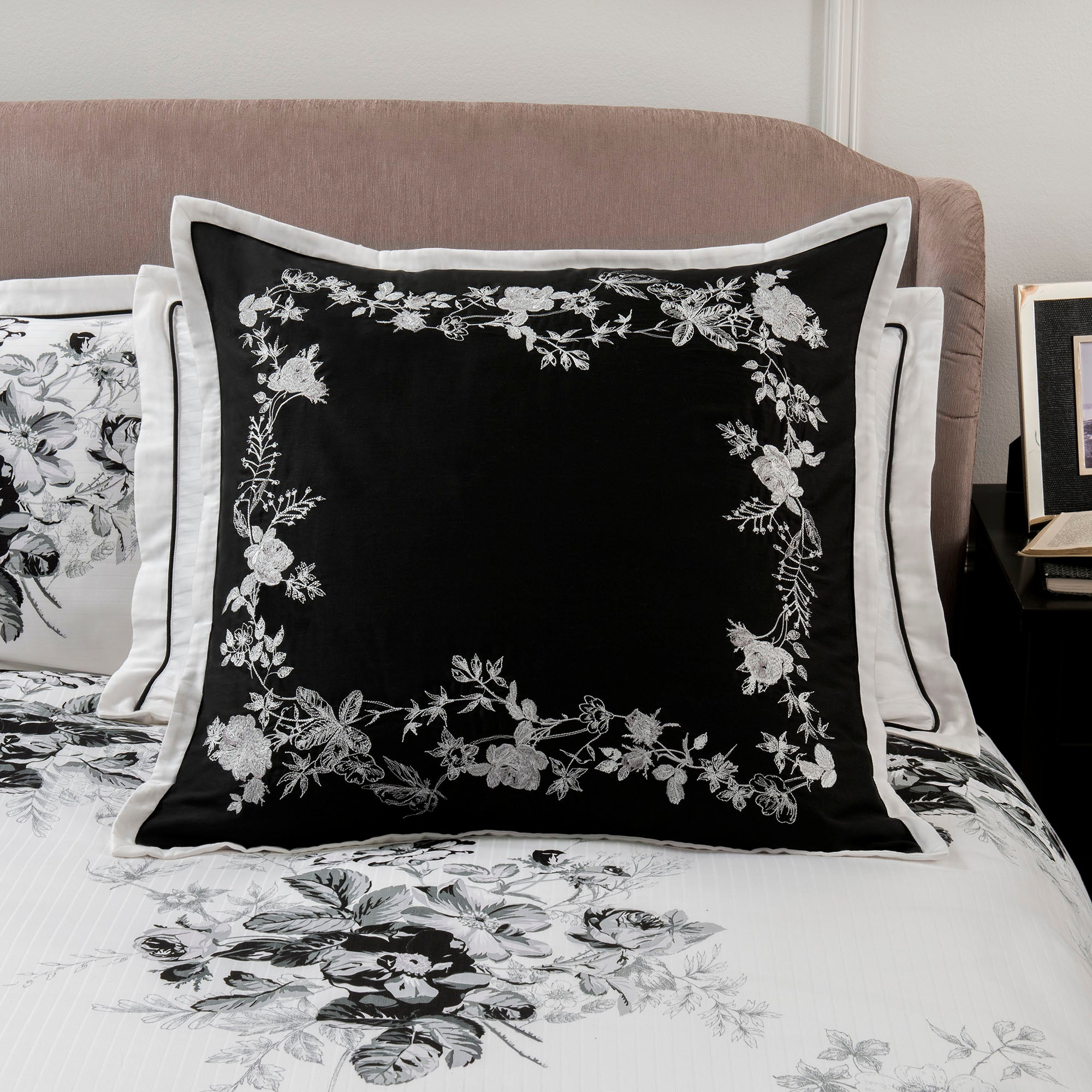 Dorma Black and White Gardenia Collection Continental Pillowcase