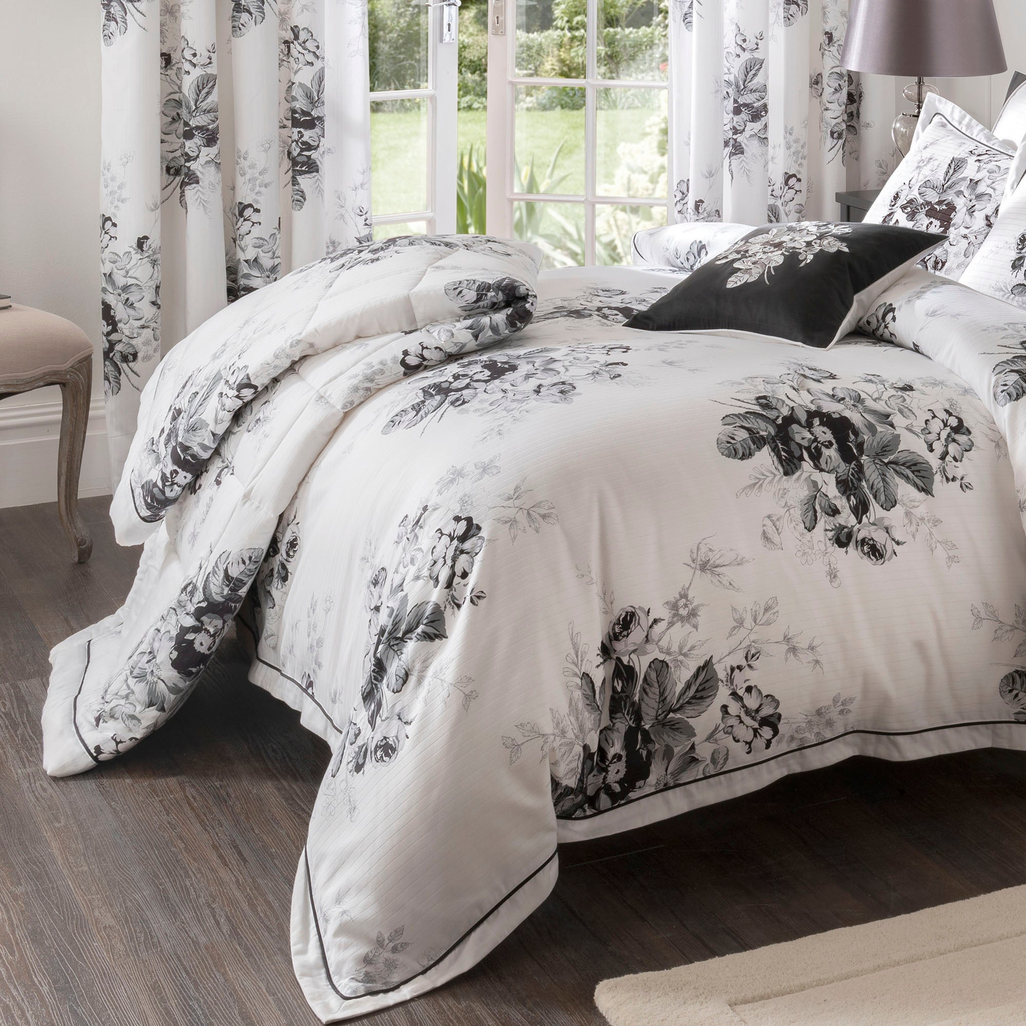 Dorma Black and White Gardenia Collection Bedspread