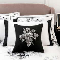 Dorma Black and White Gardenia Collection Cushion