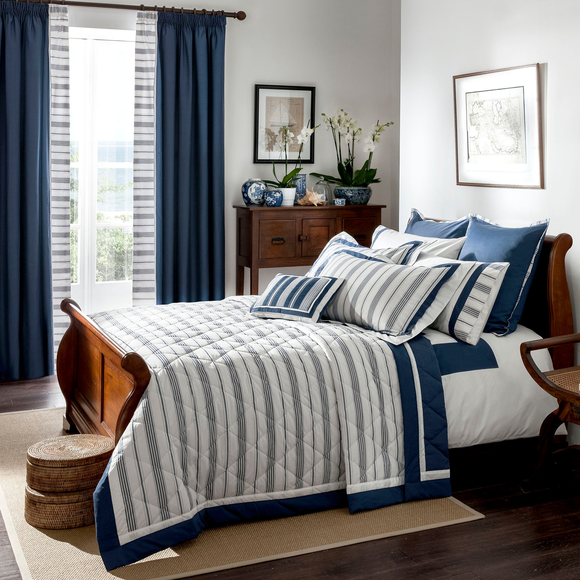 Dorma Navy Monaco Collection Bedspread