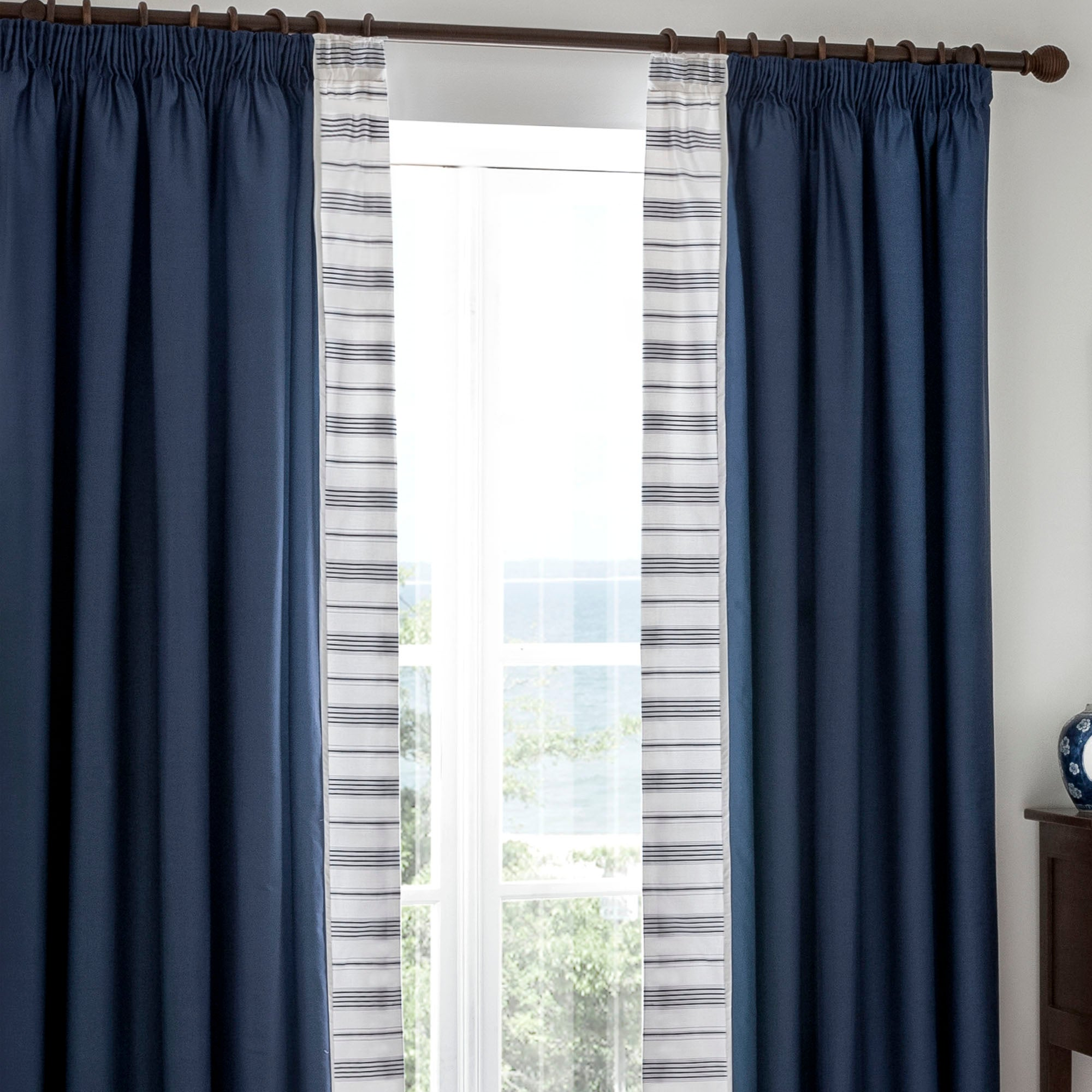 Dorma Navy Monaco Lined Pencil Pleat Curtains