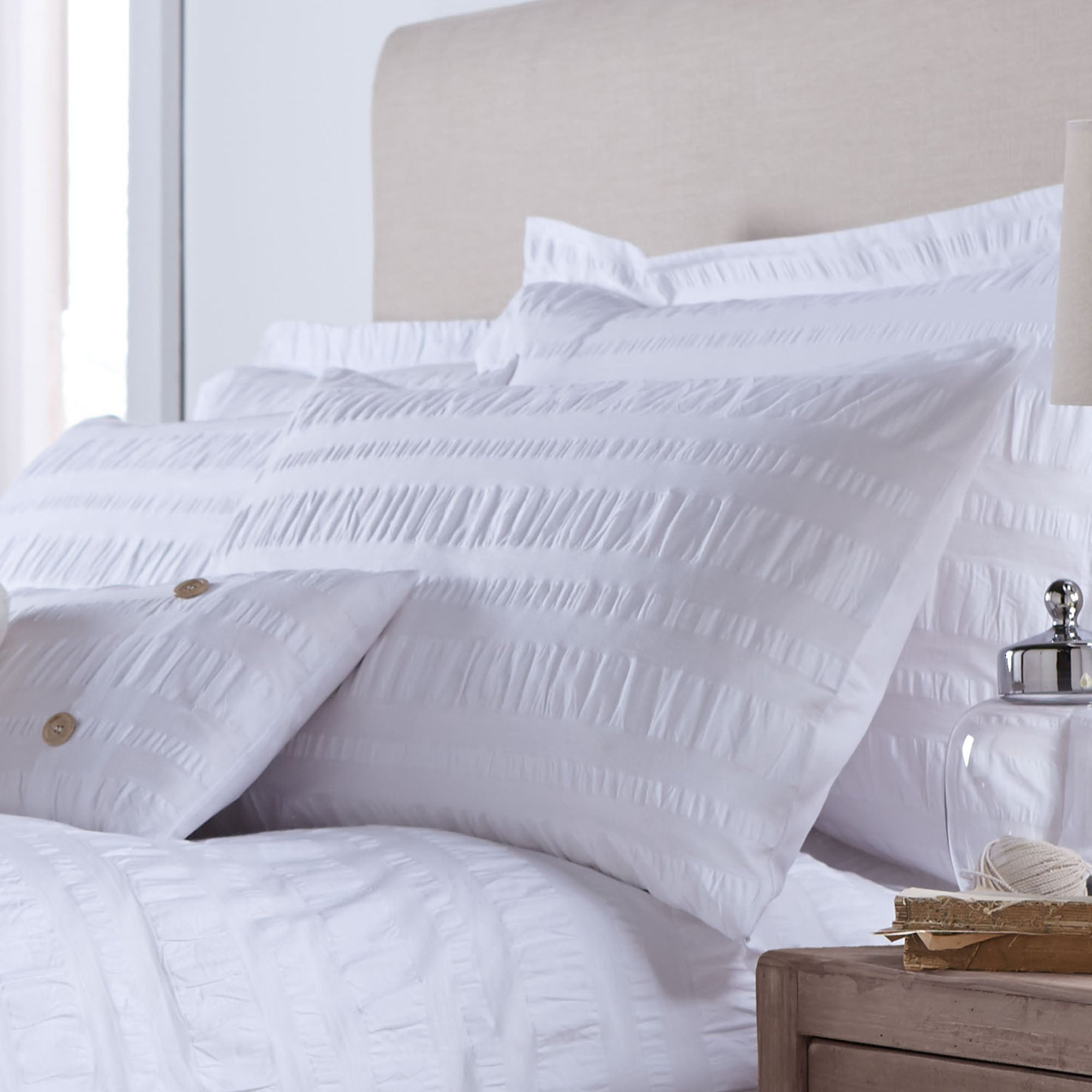 White Adeena Collection Housewife Pillowcase