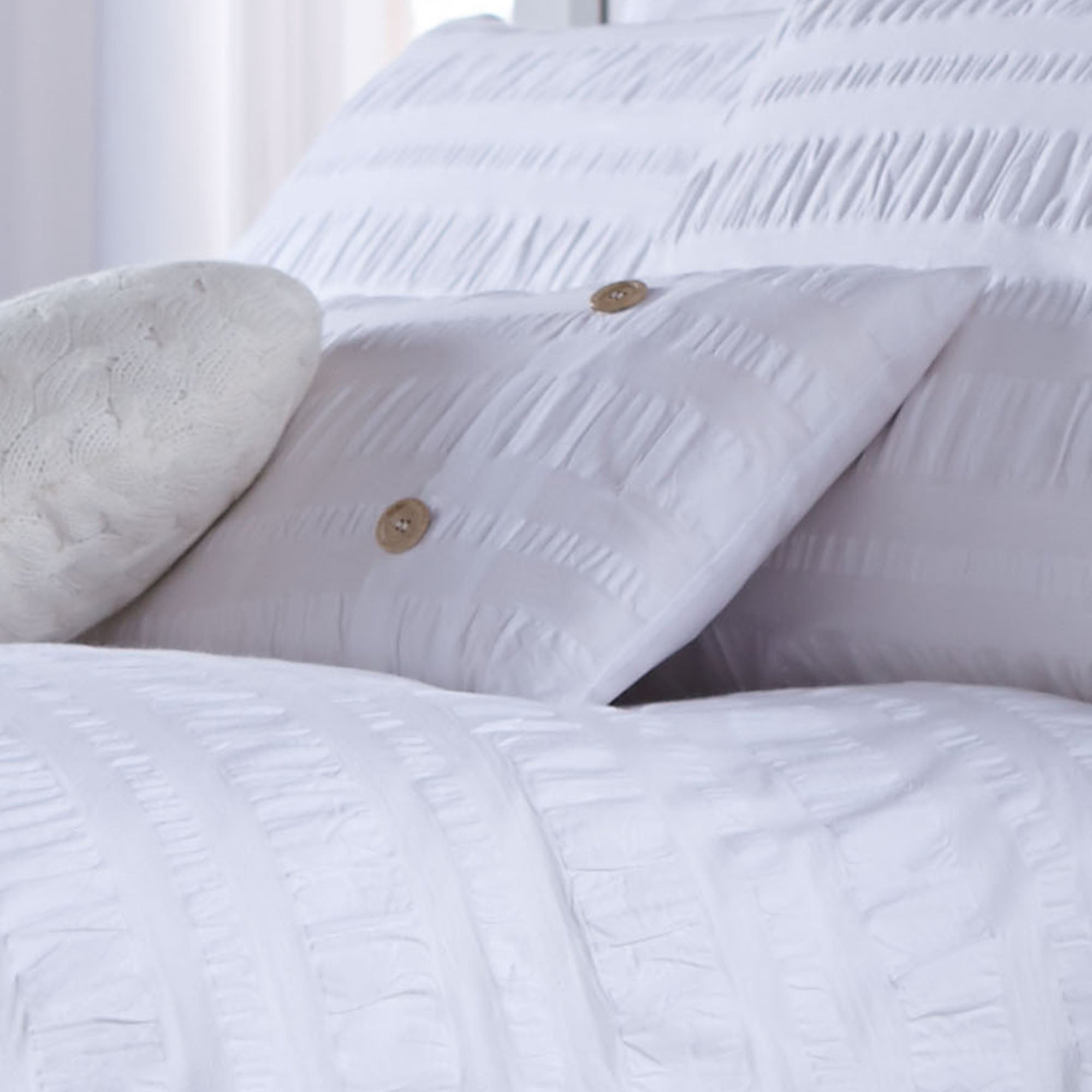 White Adeena Collection Boudoir Cushion