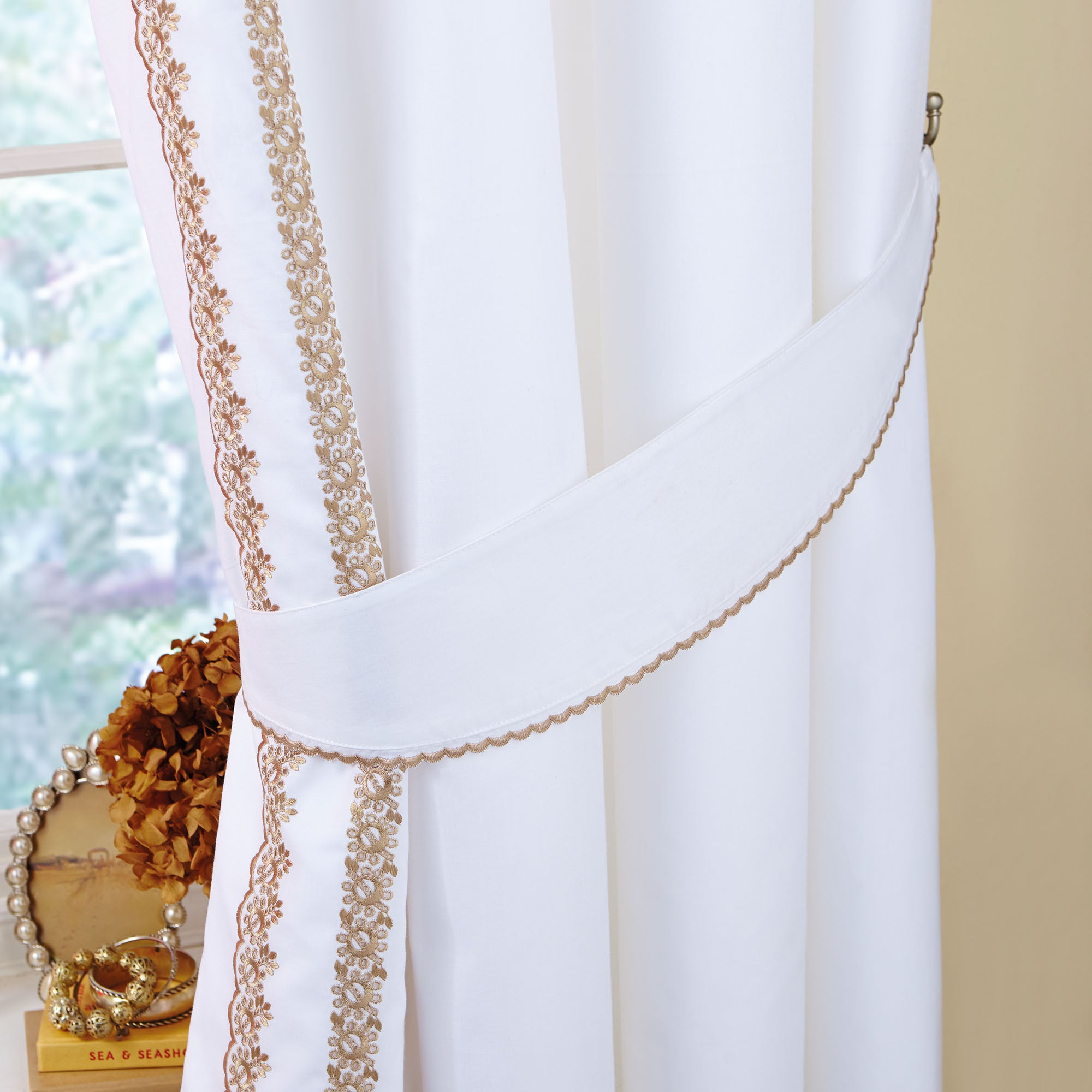 Gold Ciara Collection Thermal Pencil Pleat Curtains