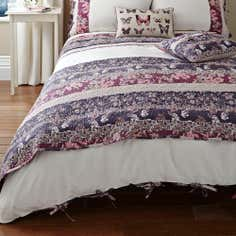Mauve Flora Patchwork Collection Duvet Cover