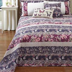 Mauve Flora Patchwork Collection Bedspread