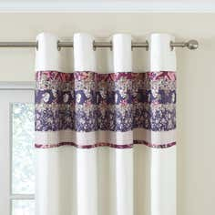 Mauve Flora Patchwork Thermal Eyelet Curtains