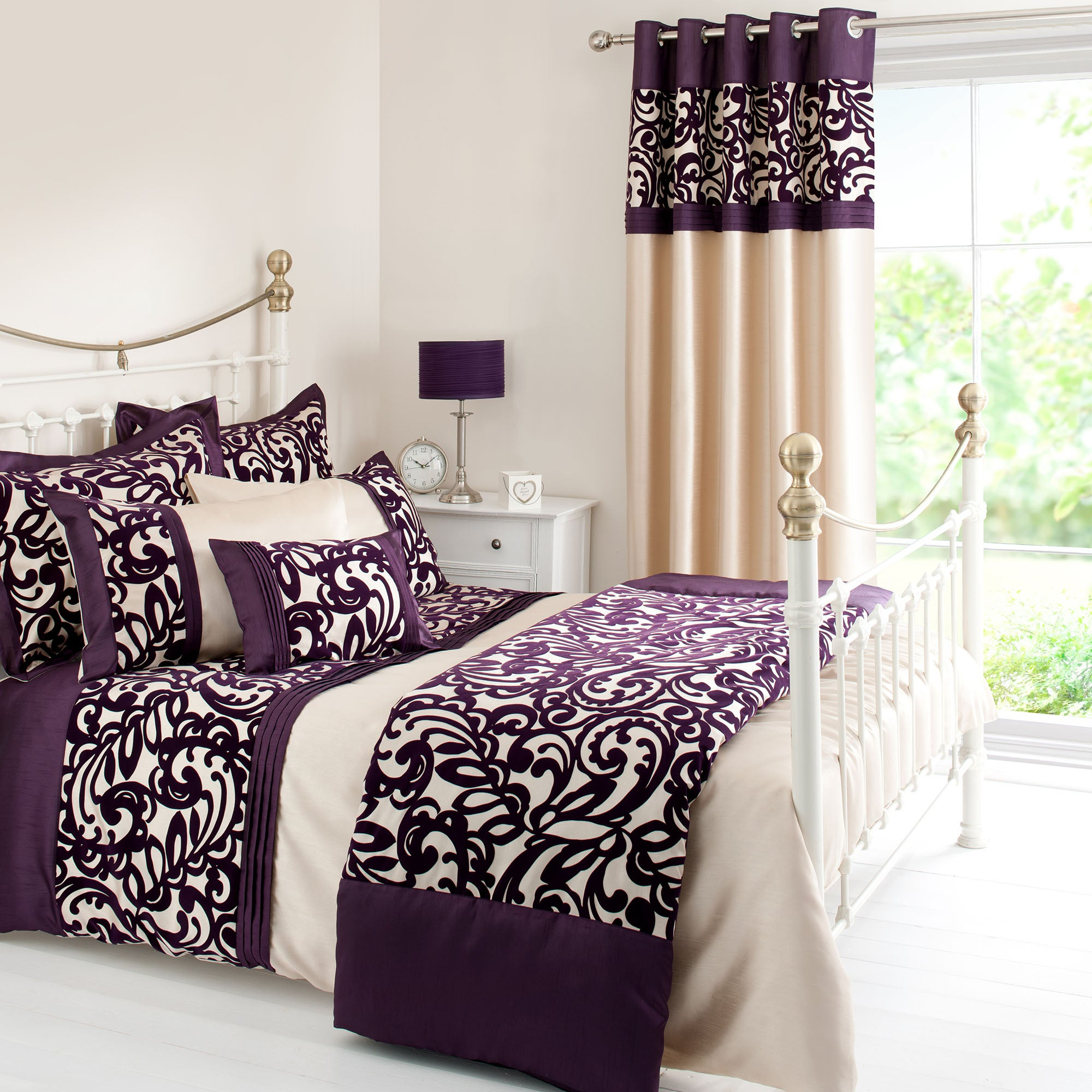 Plum Baroque Flock Collection Duvet Cover