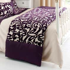 Plum Baroque Flock Collection Bedspread