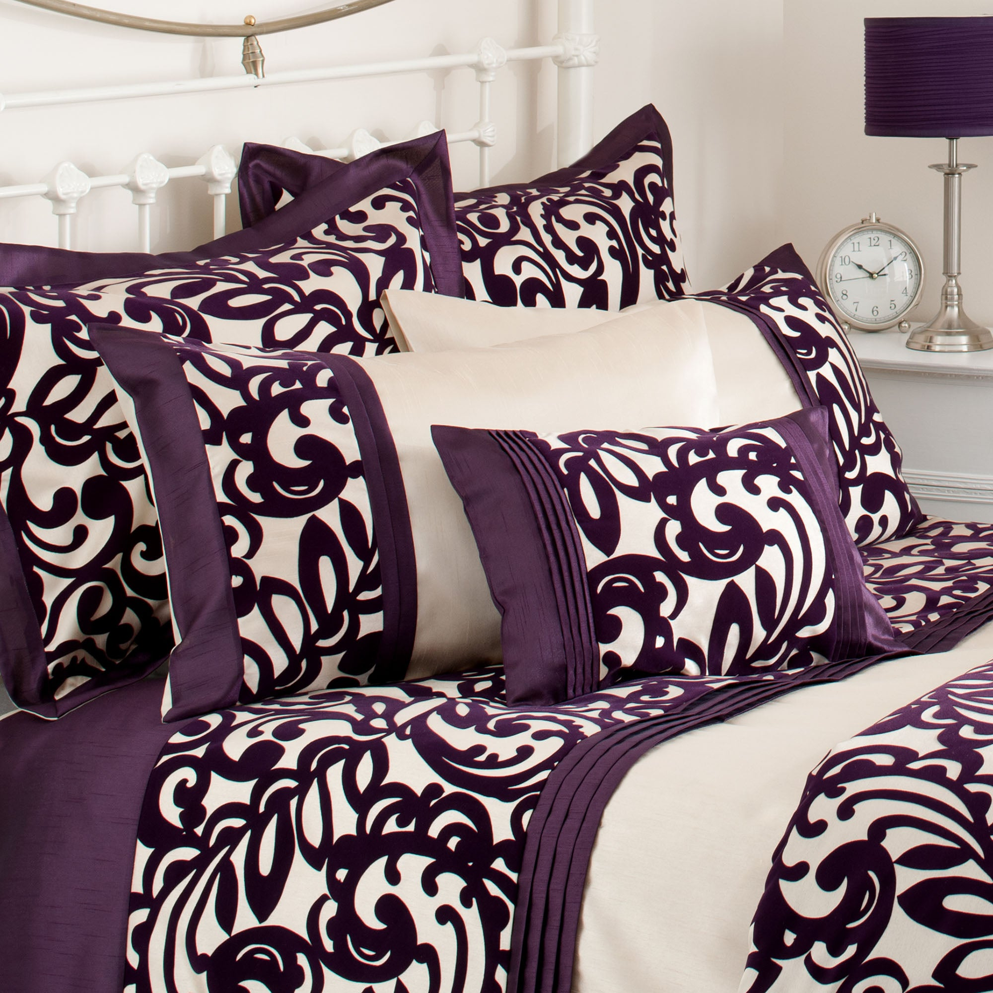 Plum Baroque Flock Collection Boudoir Cushion