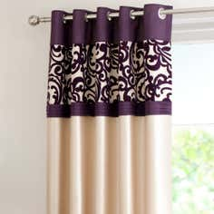 Plum Baroque Flock Thermal Eyelet Curtains