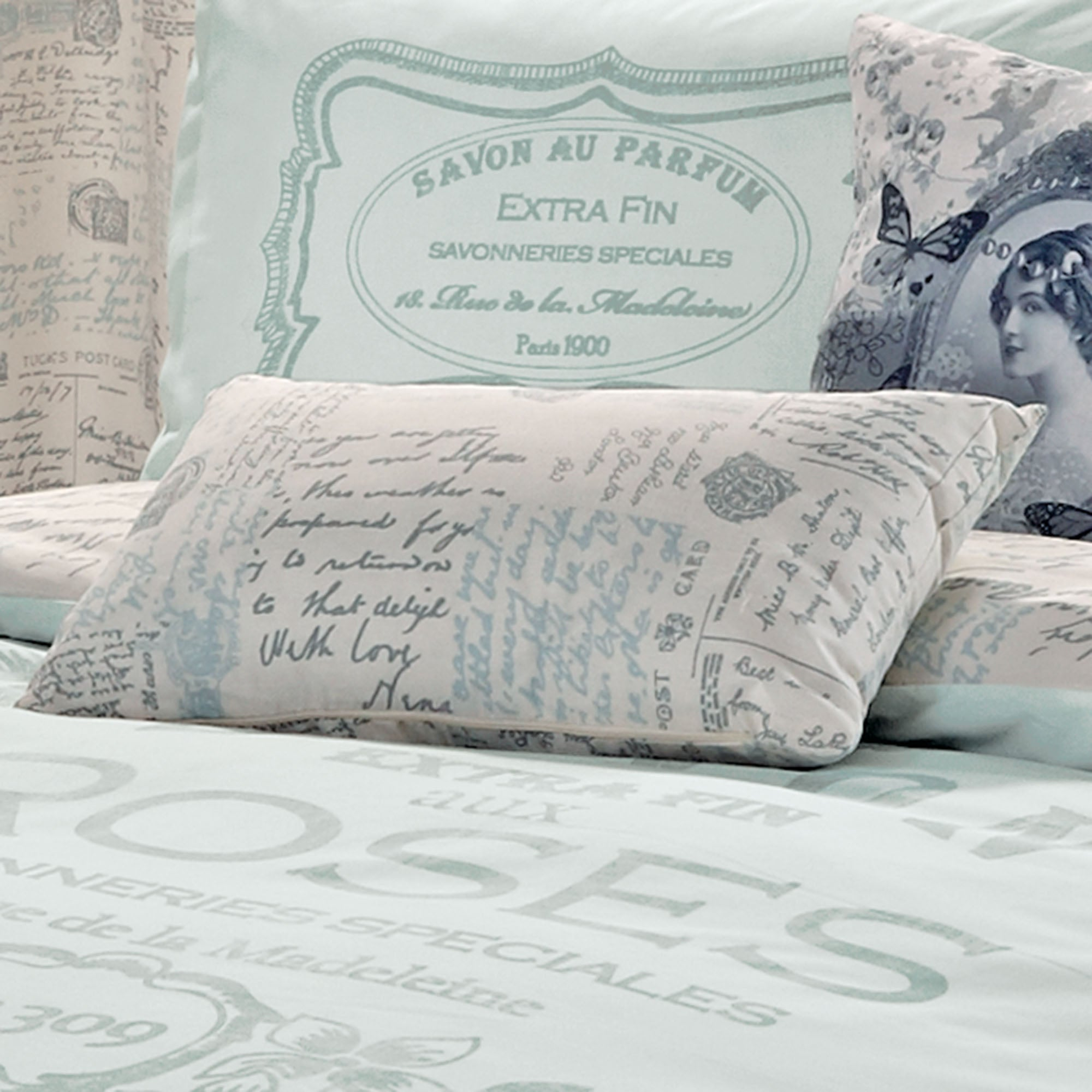 Duck Egg Vintage Paris Script Boudoir Cushion
