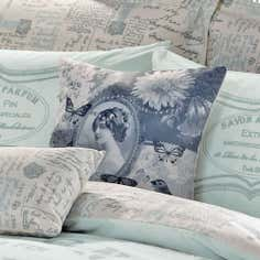 Duck Egg Vintage Paris Script Collection Square Cushion