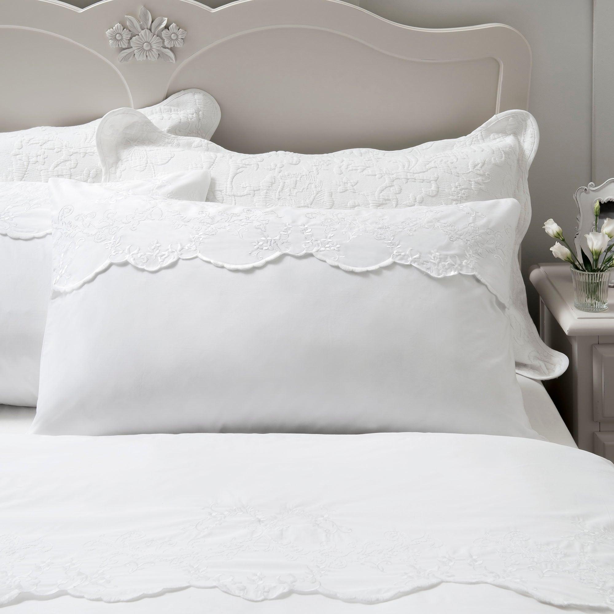 Dorma White Provence Collection Top Cuff Pillowcase