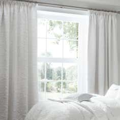 Dorma White Provence Lined Pencil Pleat Curtains