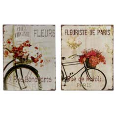 Set of 2 Bicycle Tin Wall Plaques