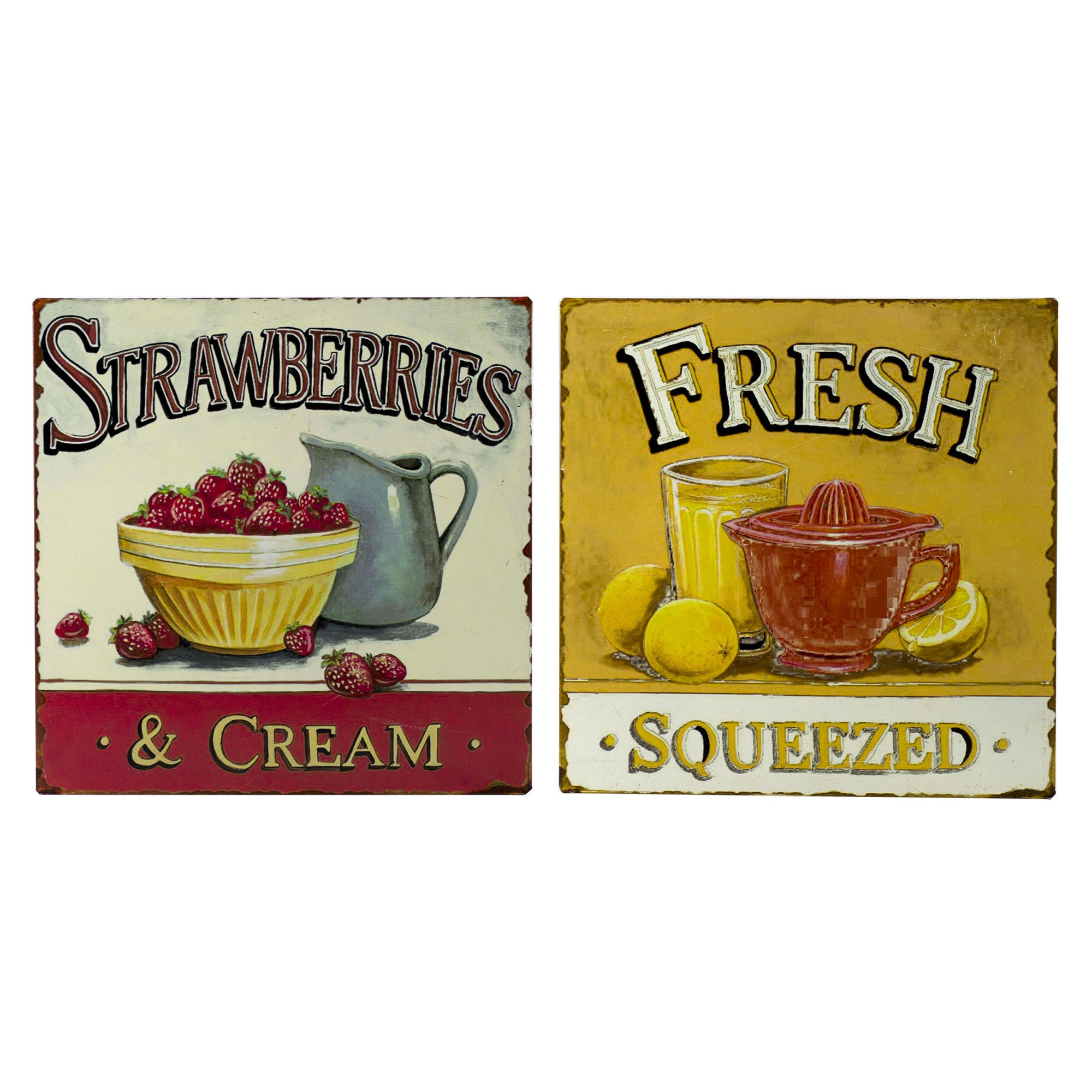 Set of 2 Strawberries and Lemons Tin Wall Plaque