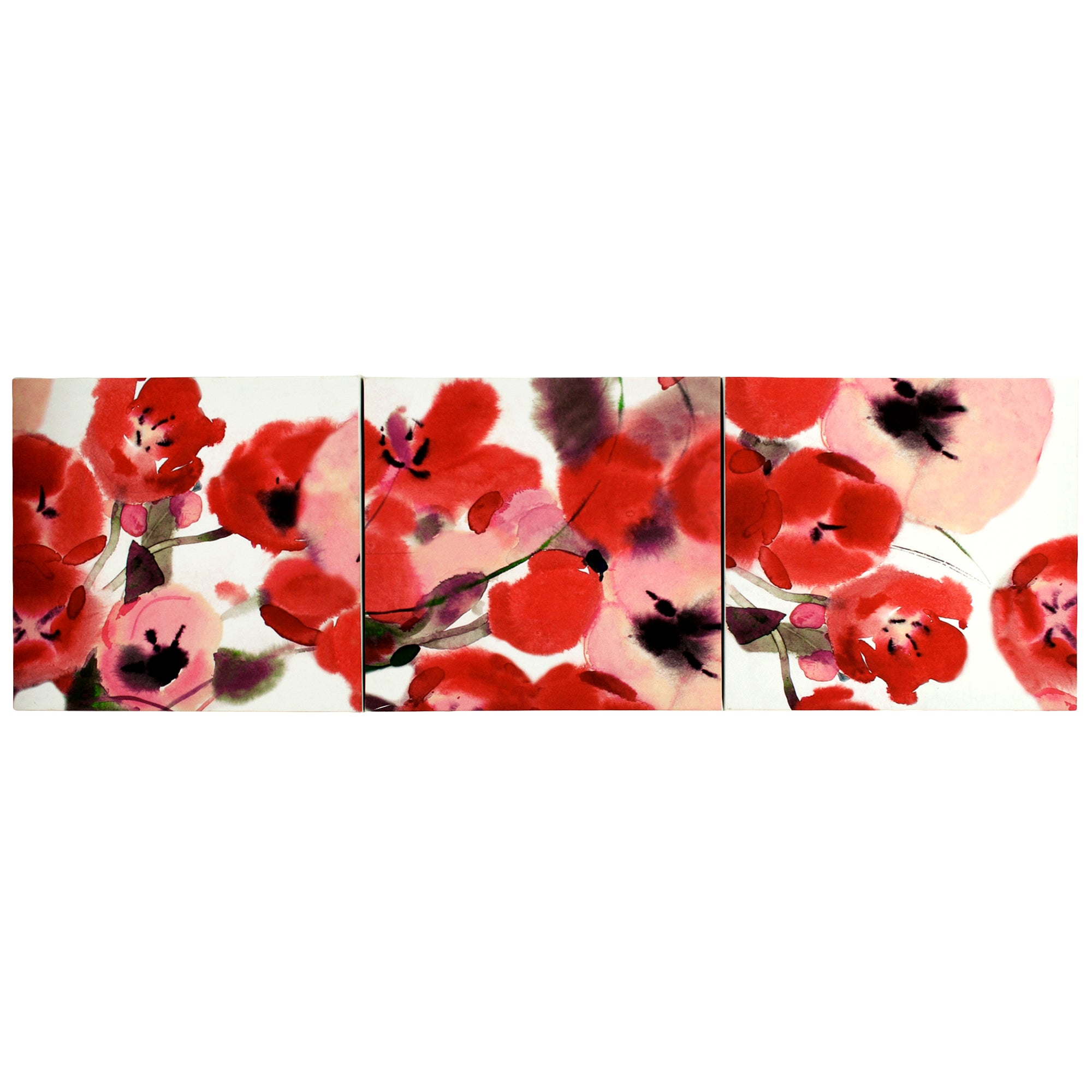 Set of 3 Poppies Printed Canvas