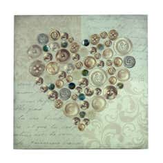 Button Heart Embellished Canvas