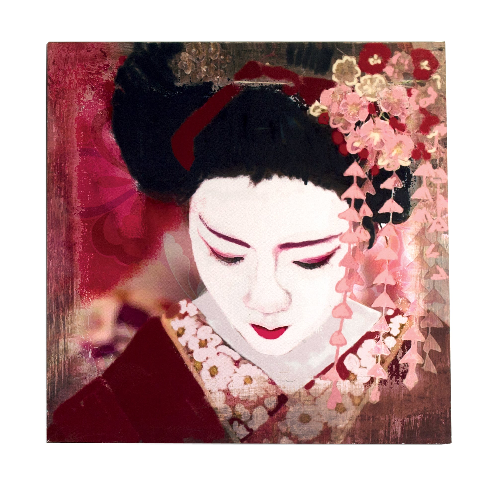 Geisha Looking Down Printed Canvas