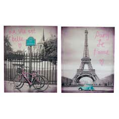 Set Of 2 Paris Printed Canvases