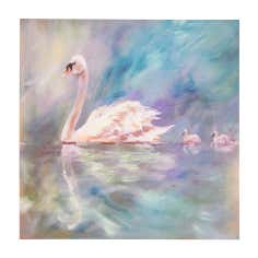 Swan Embellished Canvas