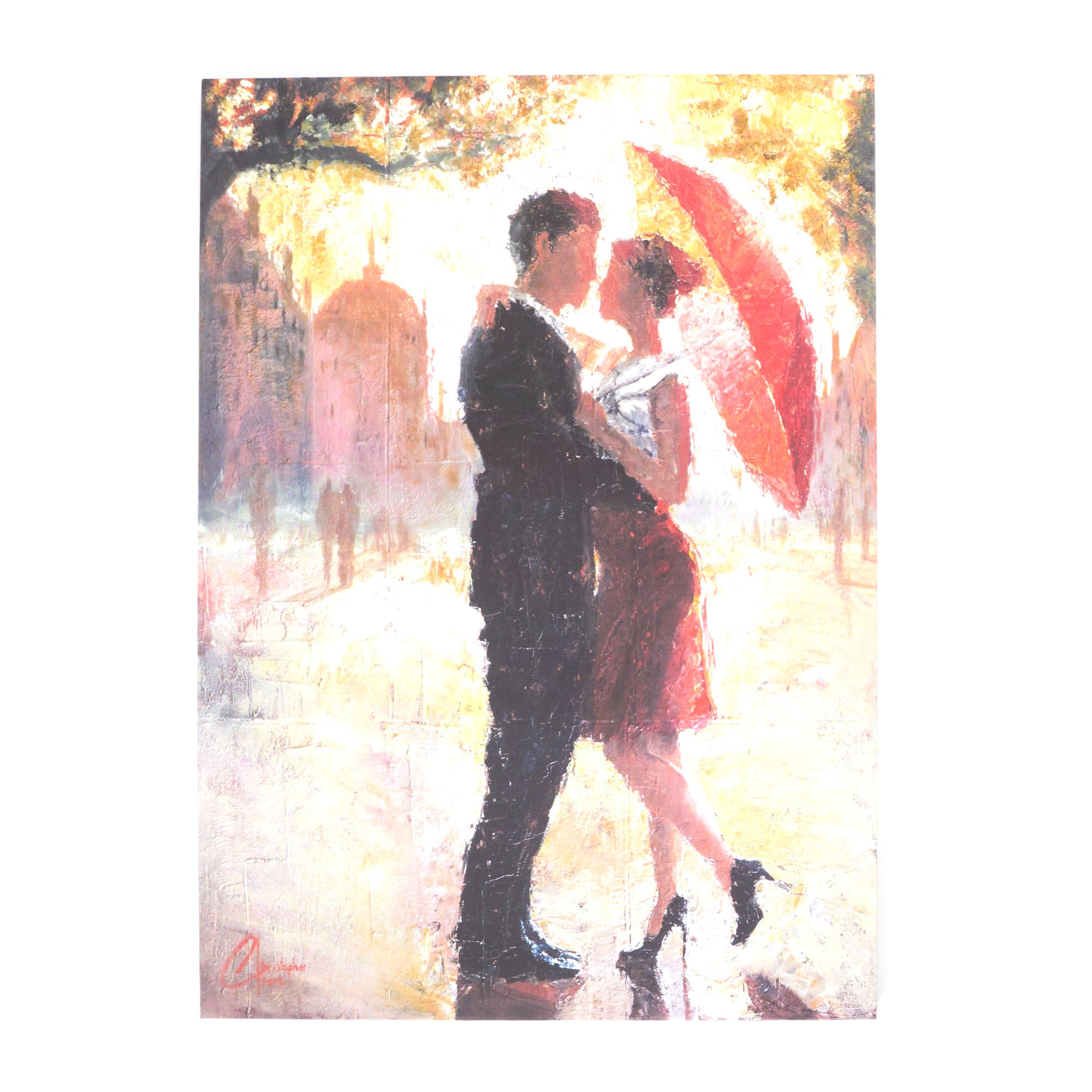Couple With Umbrella Printed Canvas