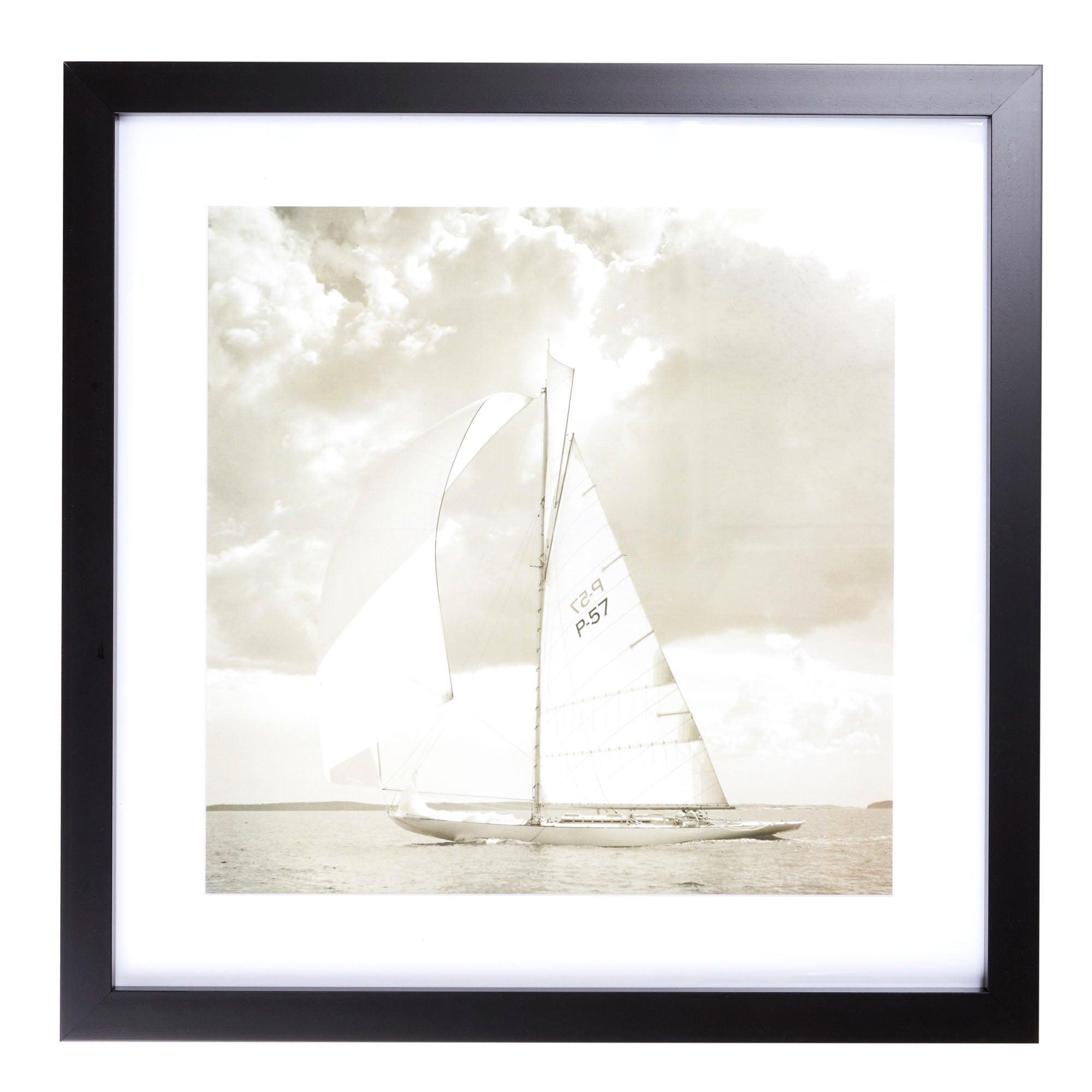 Sepia Sailing Boat Framed Print