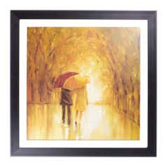 Couple with Umbrellas Framed Print