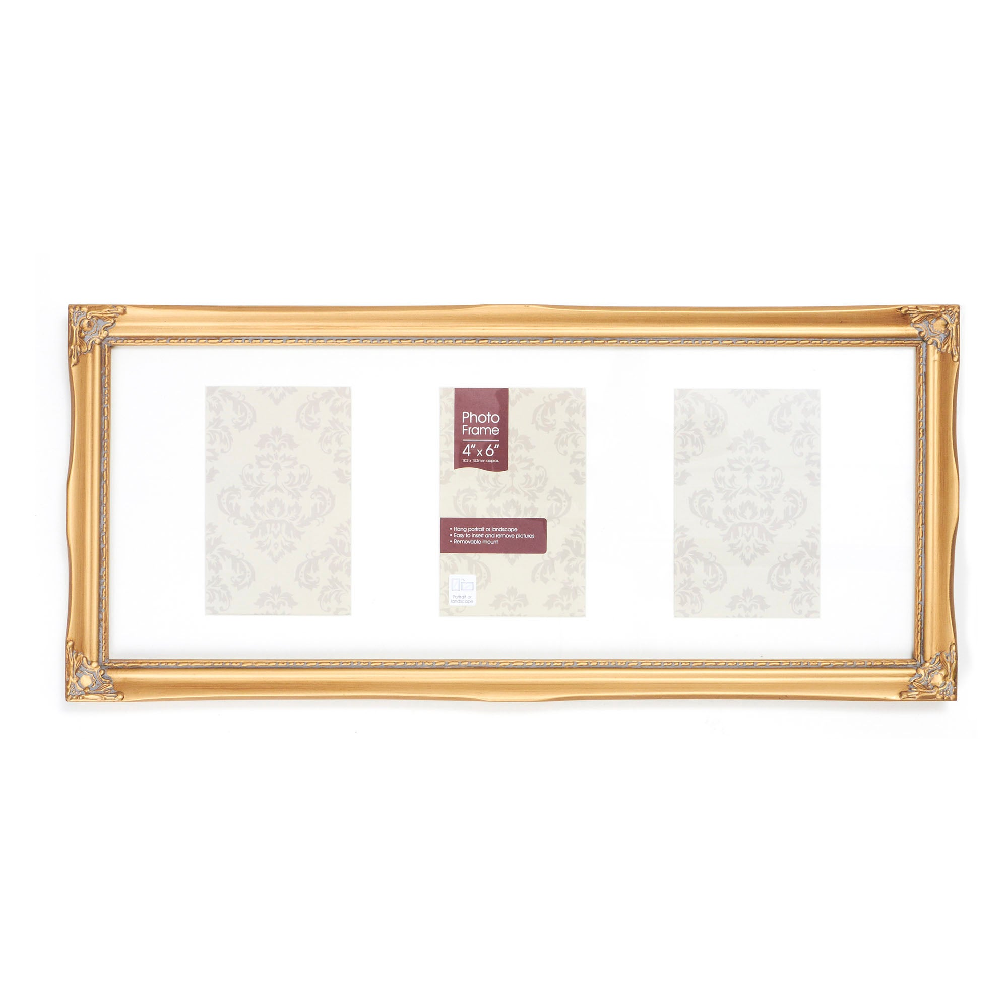 Gold Vintage 3 Opening Photo Frame