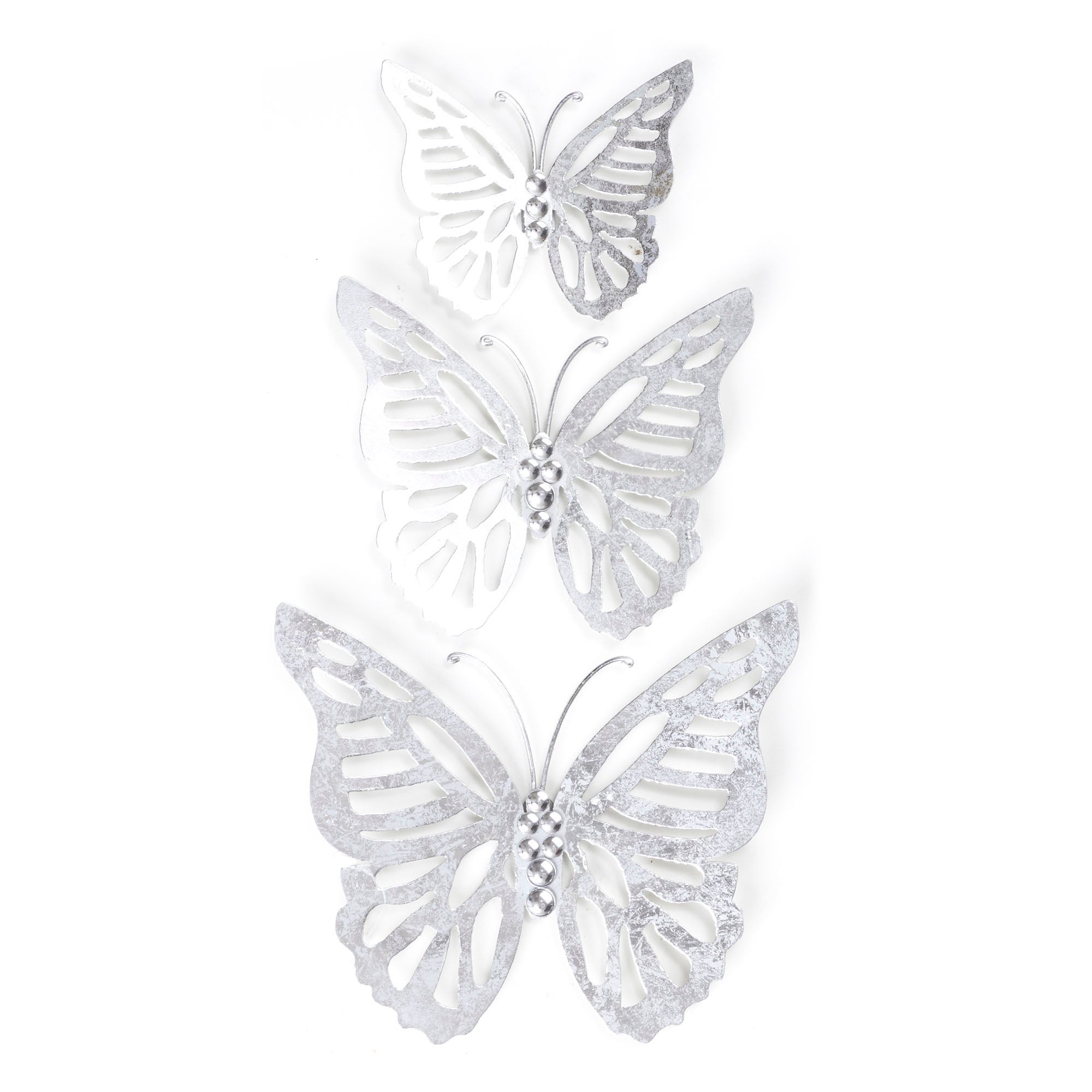Set of 3 Silver Metal Butterflies